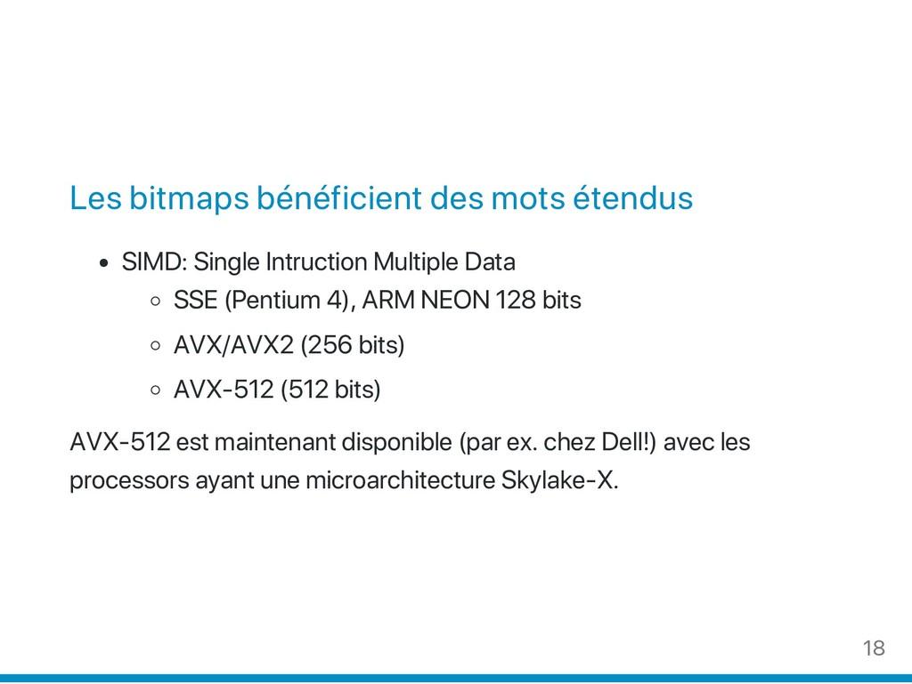 Les bitmaps bénéficient des mots étendus SIMD: ...