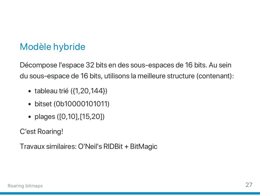 Modèle hybride Décompose l'espace 32 bits en de...