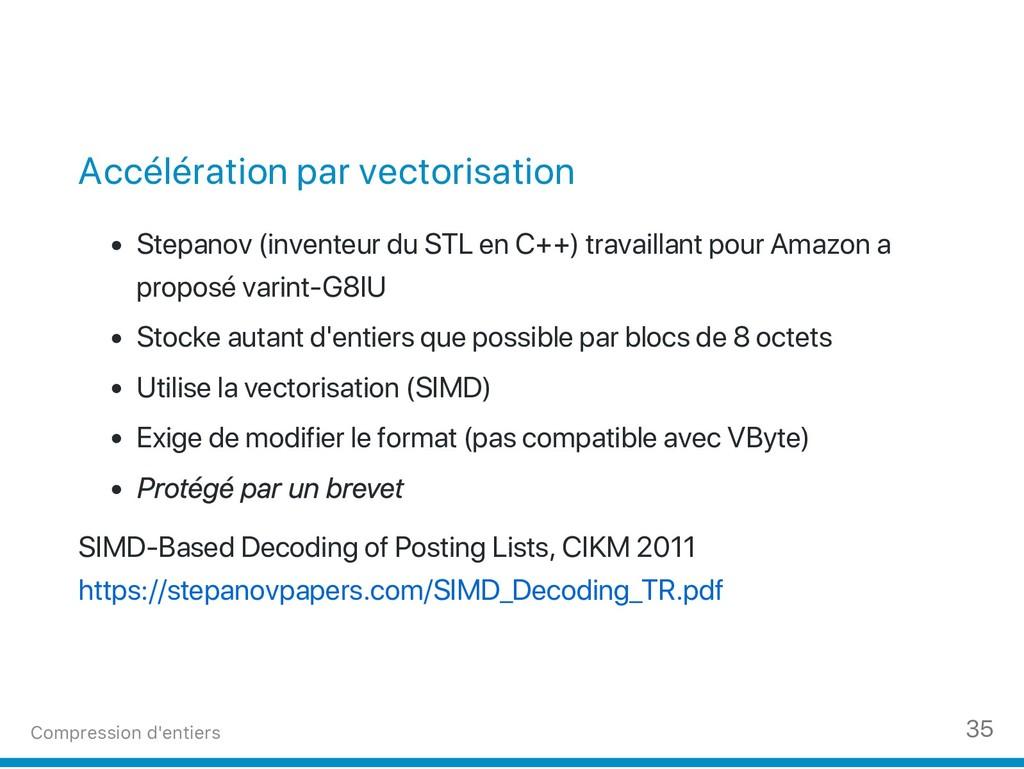 Accélération par vectorisation Stepanov (invent...