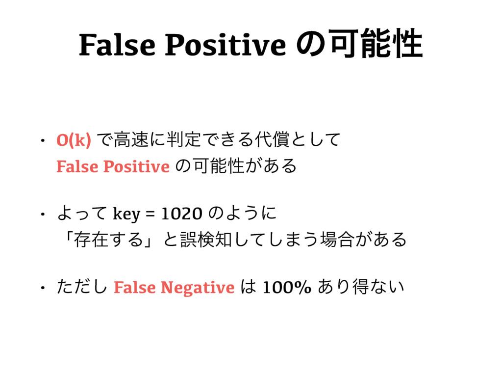 False Positive ͷՄੑ • O(k) ͰߴʹఆͰ͖Δঈͱͯ͠ Fals...