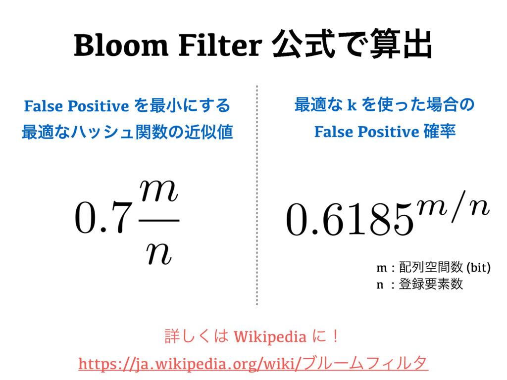 Bloom Filter ެࣜͰग़ m : ྻۭؒ (bit) n : ొཁૉ ৄ͠...