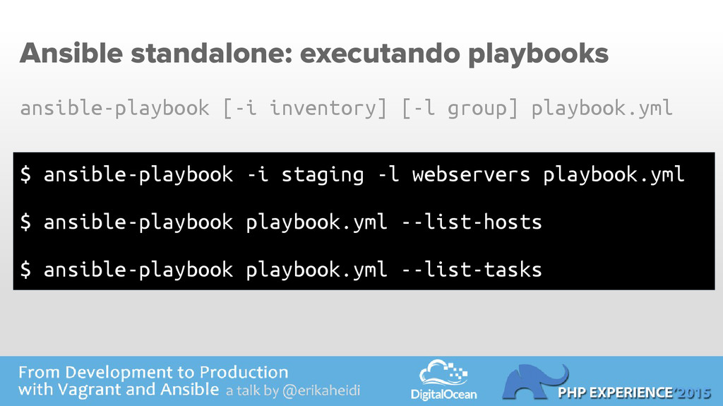 Ansible standalone: executando playbooks $ ansi...