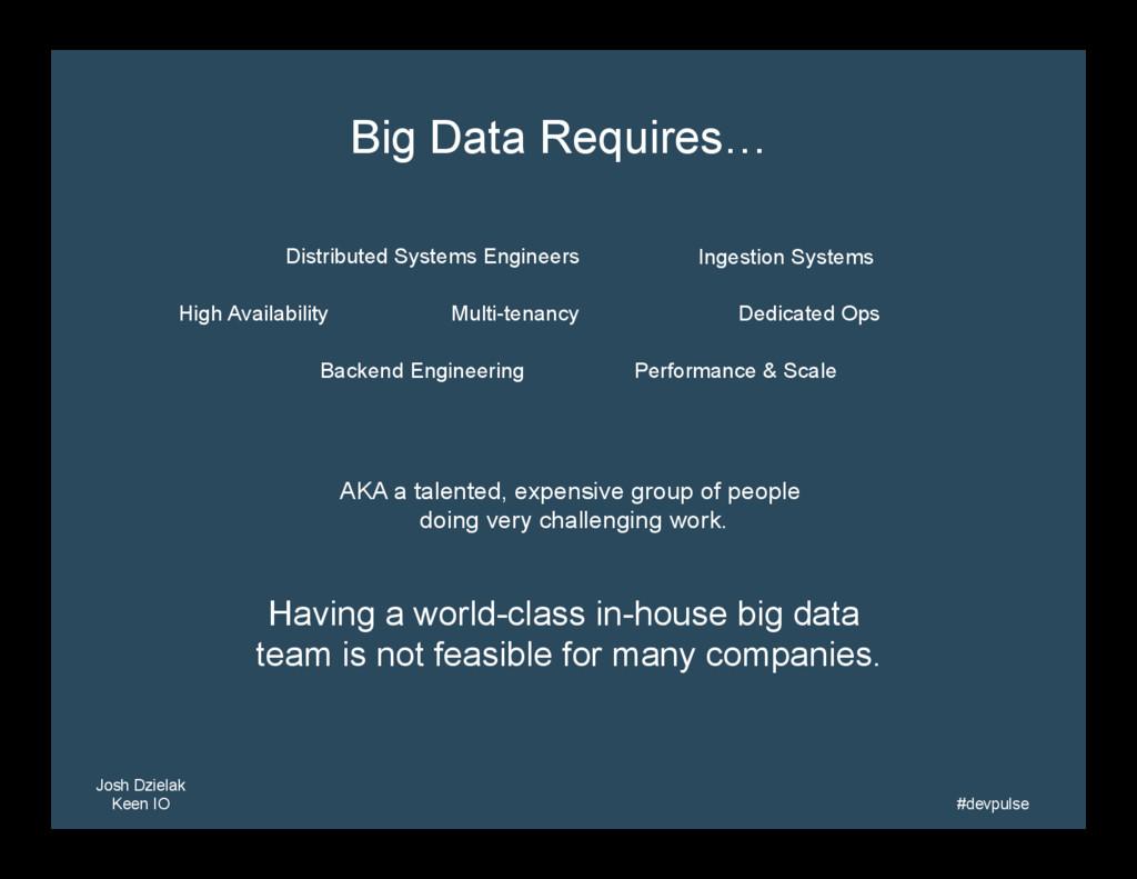 Josh Dzielak Keen IO   #devpulse   Big Data...