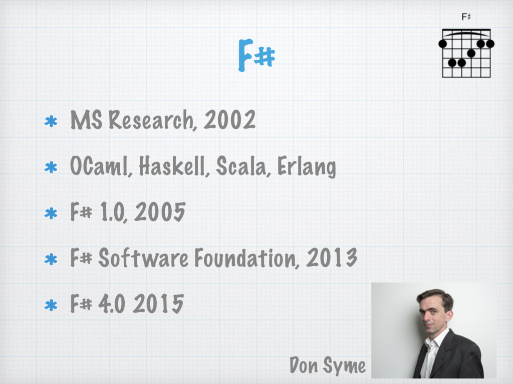 F# MS Research, 2002 OCaml, Haskell, Scala, Erl...