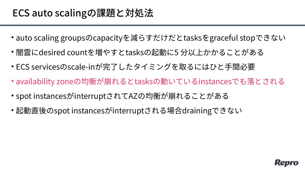 • auto scaling groupsのcapacityを減らすだけだとtasksをgra...