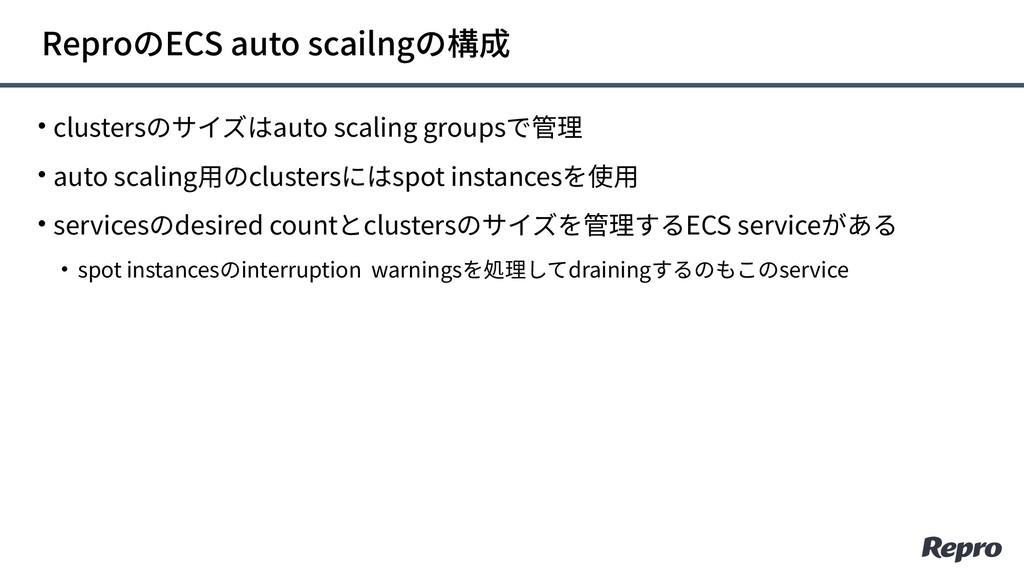 • clustersのサイズはauto scaling groupsで管理 • auto sc...