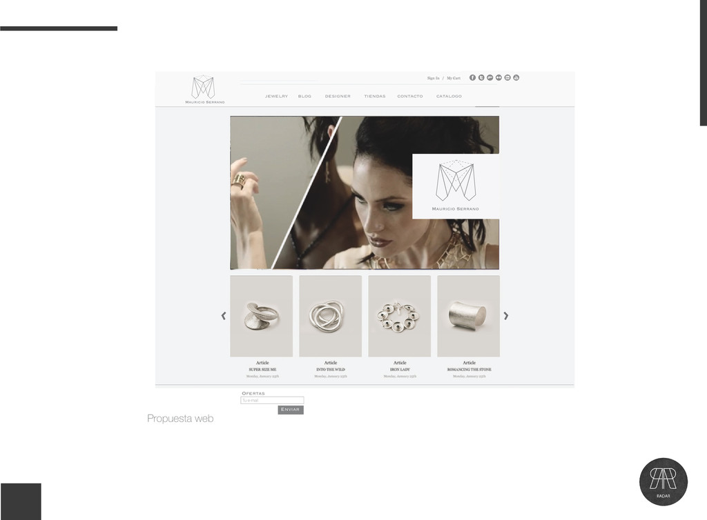 Propuesta web jewelry blog designer tiendas con...