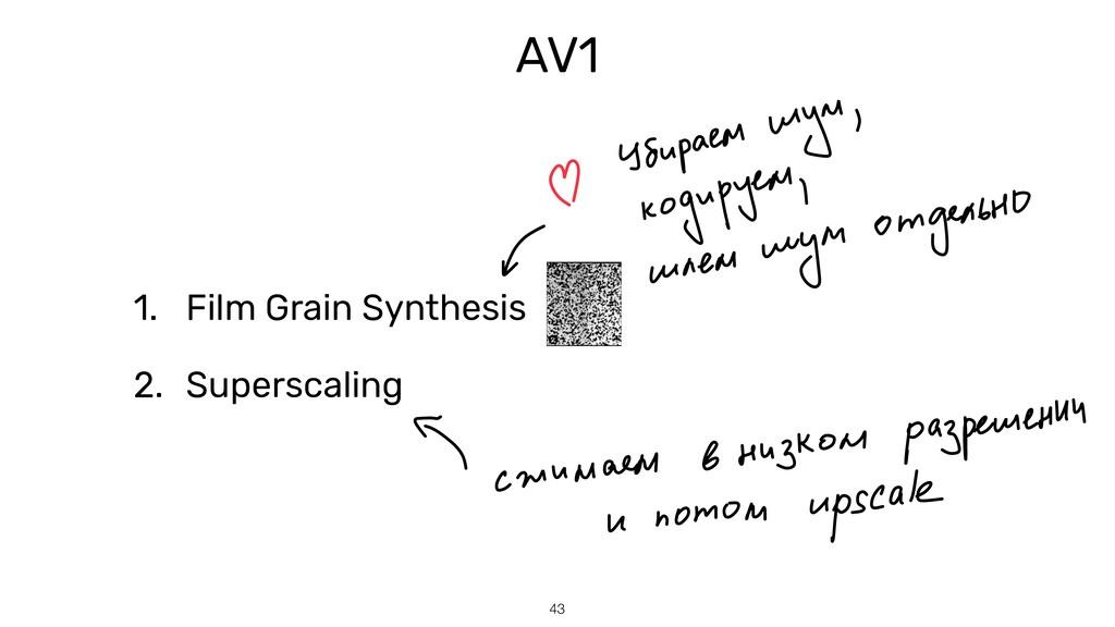 43 AV1 1. Film Grain Synthesis   2. Superscaling