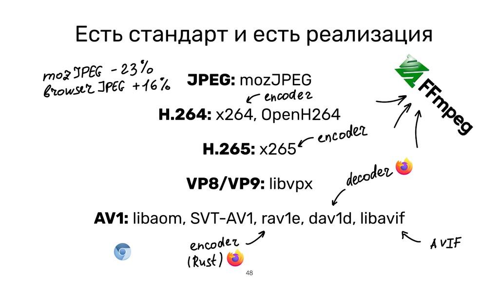 48 Есть стандарт и есть реализация JPEG: mozJPE...