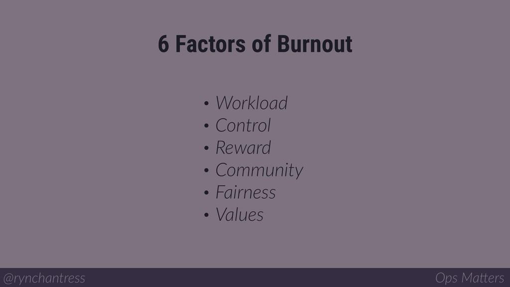 6 Factors of Burnout @rynchantress Ops Ma/ers •...