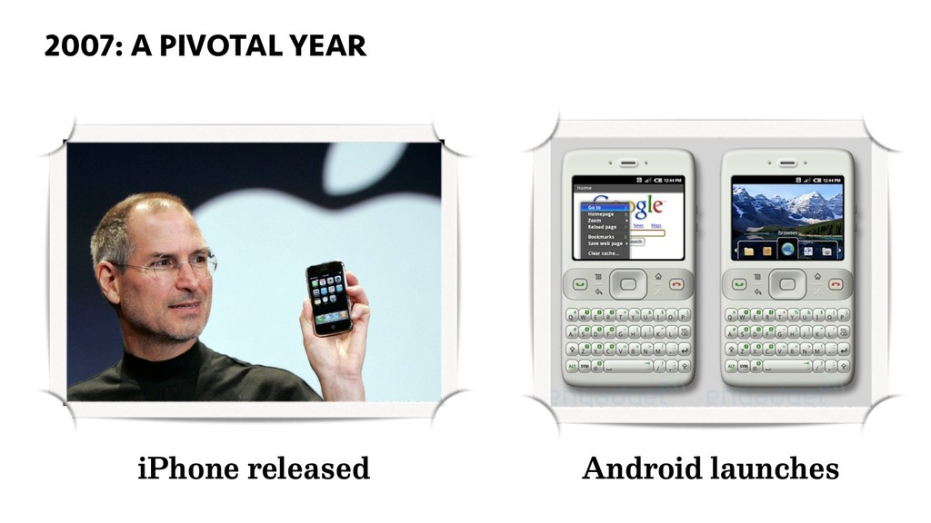 2007: A PIVOTAL YEAR 22 iPhone released Android...
