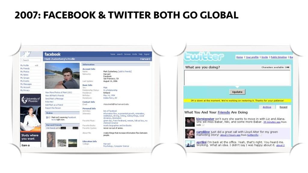 2007: FACEBOOK & TWITTER BOTH GO GLOBAL 23 2007...