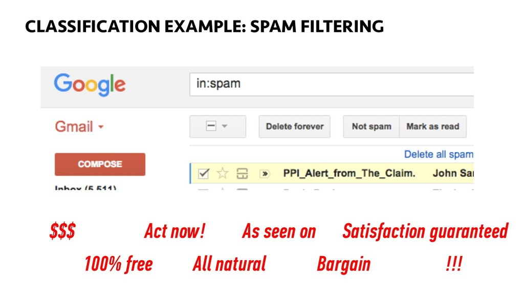 BIG DATA 59 CLASSIFICATION EXAMPLE: SPAM FILTER...