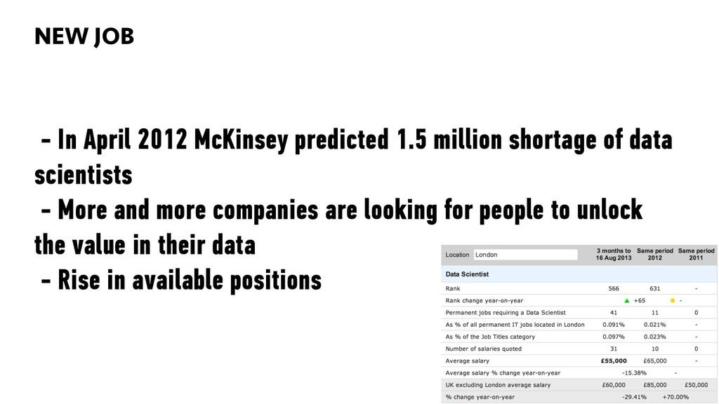 BIG DATA 82 - In April 2012 McKinsey predicted ...