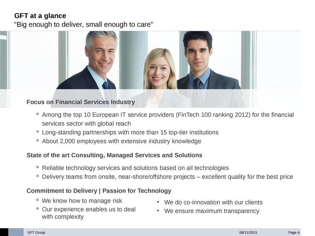 """GFT Group Page 4 08/11/2013 GFT at a glance """"Bi..."""
