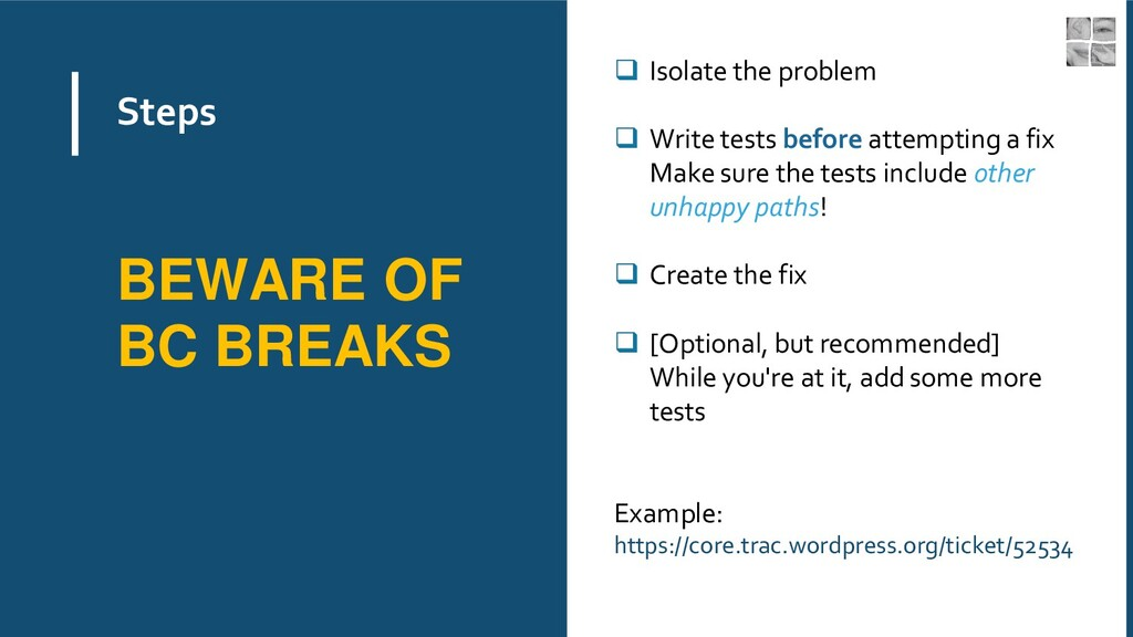 Steps ❑ Isolate the problem ❑ Write tests befor...