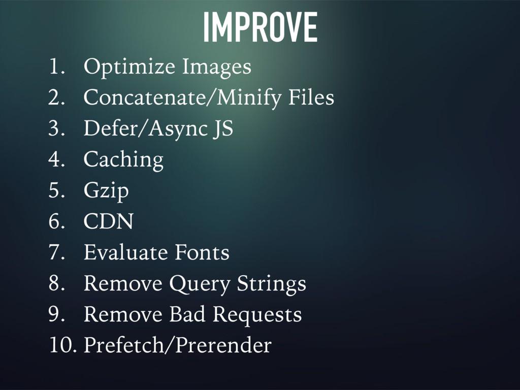 IMPROVE 1. Optimize Images 2. Concatenate/Minif...
