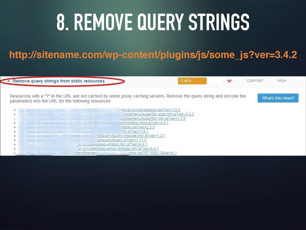 8. REMOVE QUERY STRINGS http://sitename.com/wp-...