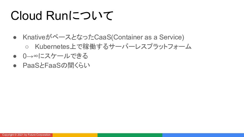 Cloud Runについて ● KnativeがベースとなったCaaS(Container a...