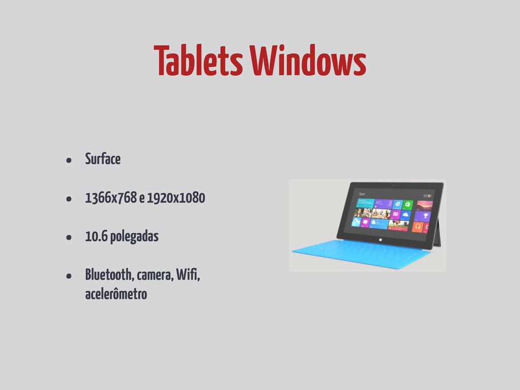 • Surface • 1366x768 e 1920x1080 • 10.6 polegad...