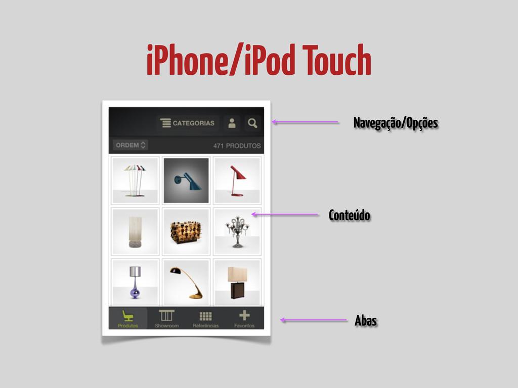 iPhone/iPod Touch Navegação/Opções Abas Conteúdo
