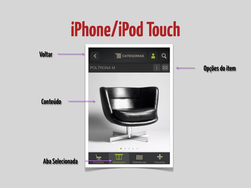 iPhone/iPod Touch Opções do item Conteúdo Volta...