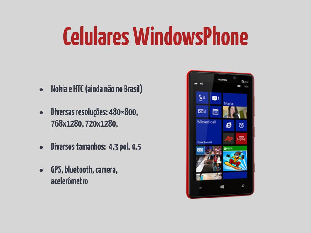 • Nokia e HTC (ainda não no Brasil) • Diversas ...