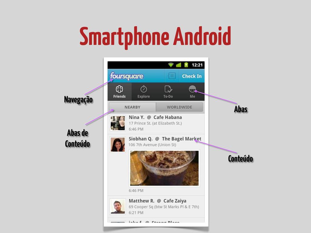 Smartphone Android Navegação Abas Abas de Conte...