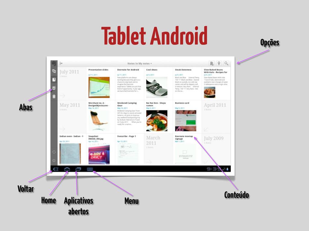 Tablet Android Voltar Home Aplicativos abertos ...