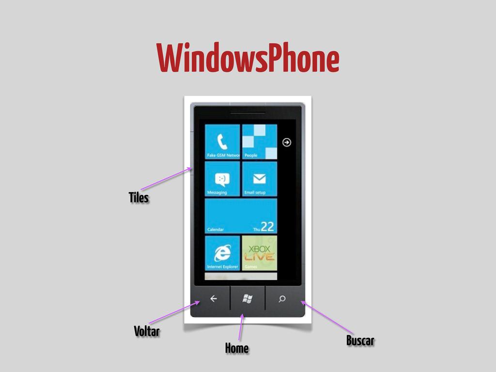 WindowsPhone Tiles Voltar Buscar Home