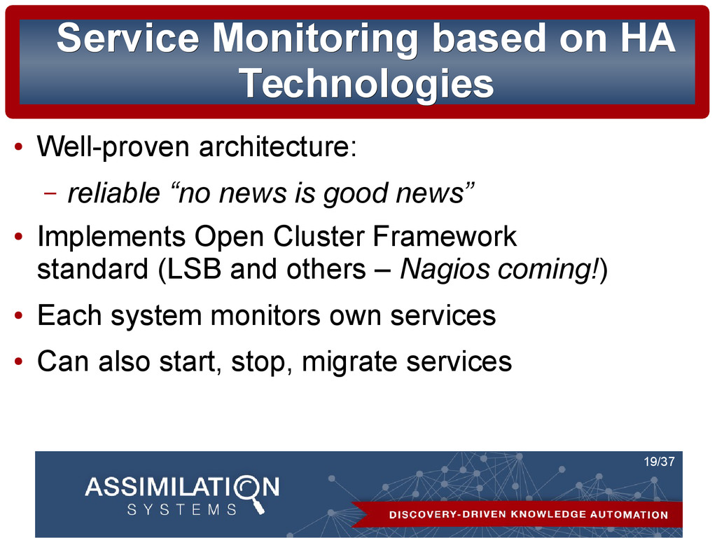 19/37 Service Monitoring based on HA Service Mo...