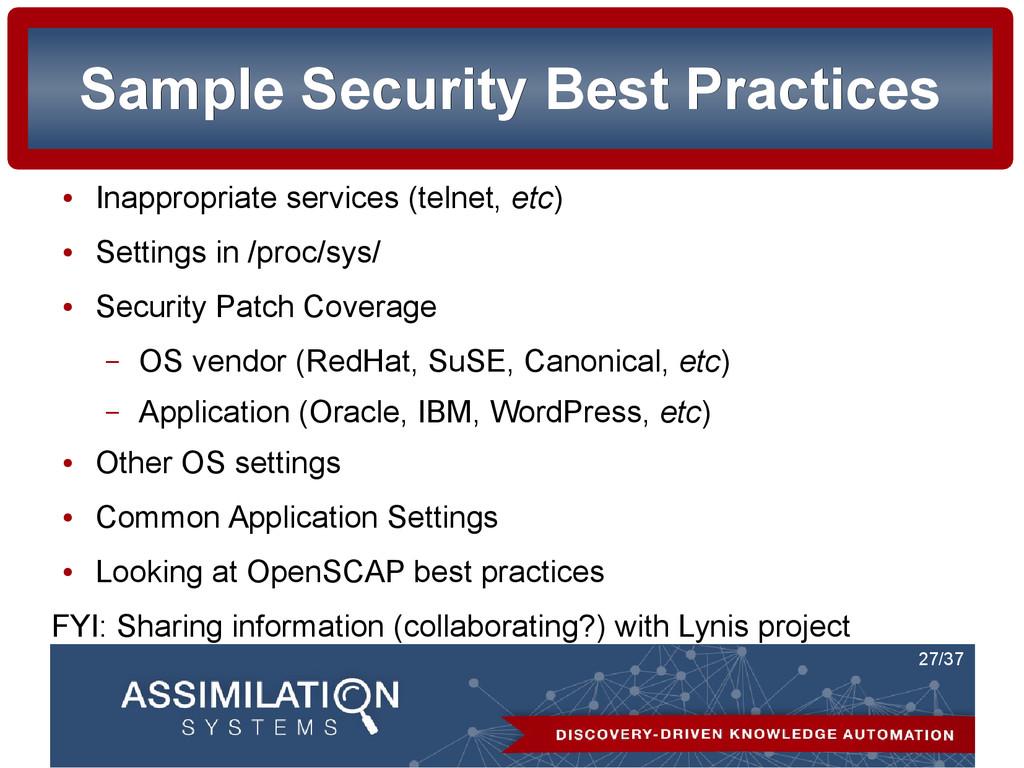 27/37 Sample Security Best Practices Sample Sec...