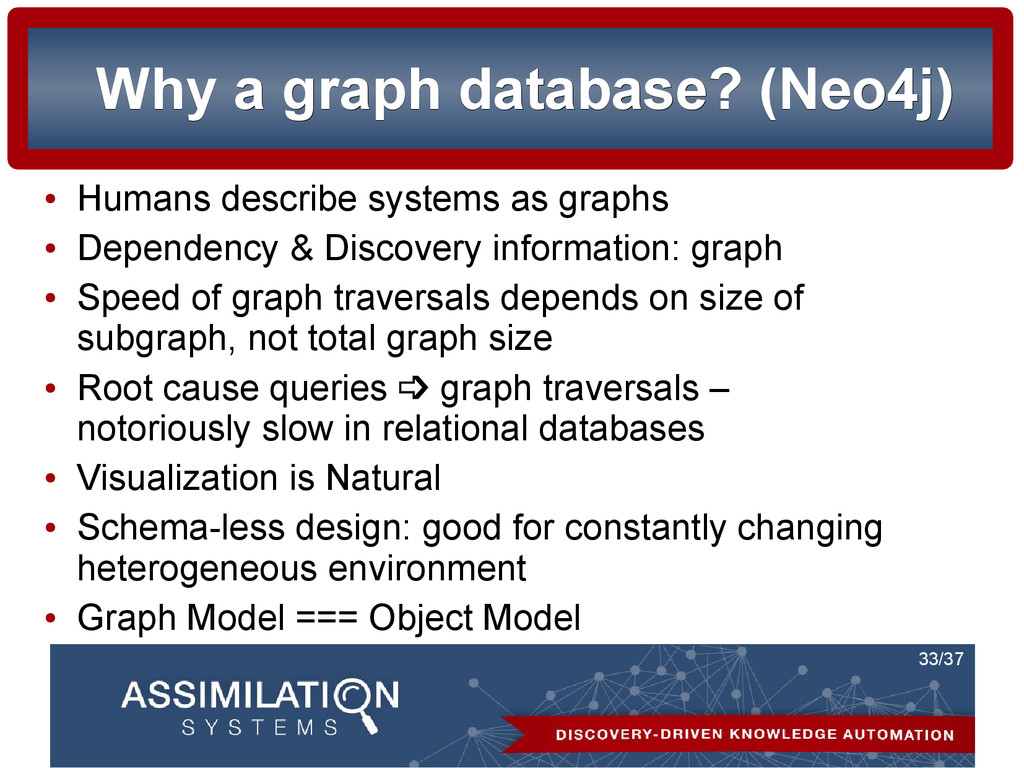 33/37 Why a graph database? (Neo4j) Why a graph...
