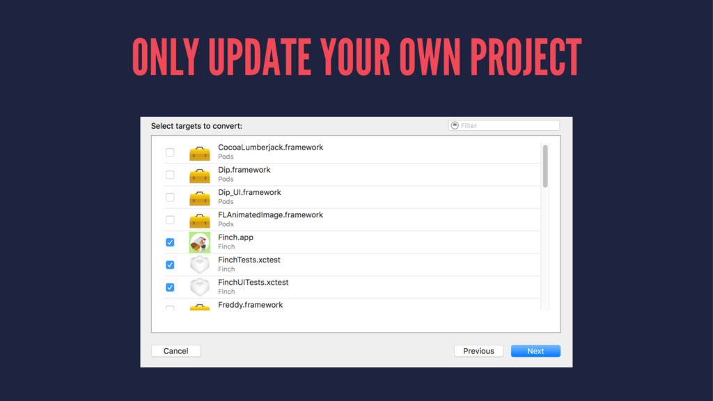 ONLY UPDATE YOUR OWN PROJECT