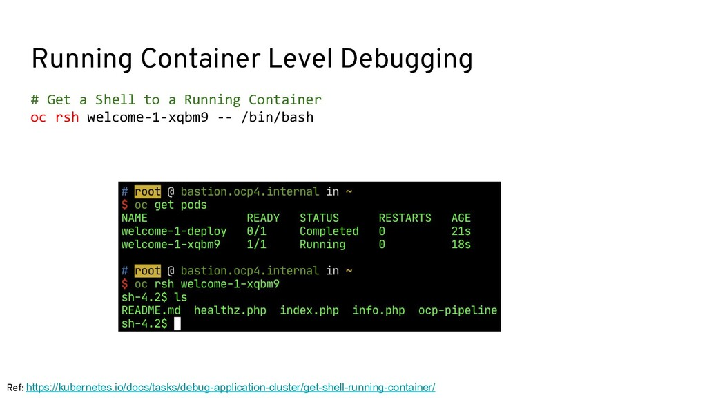 Running Container Level Debugging # Get a Shell...