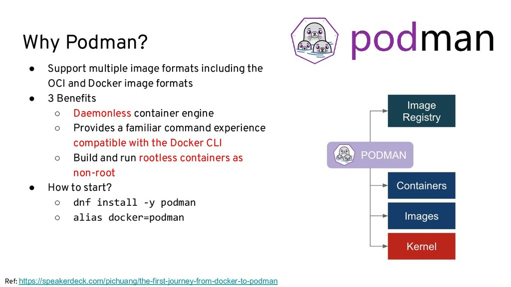 Why Podman? ● Support multiple image formats in...
