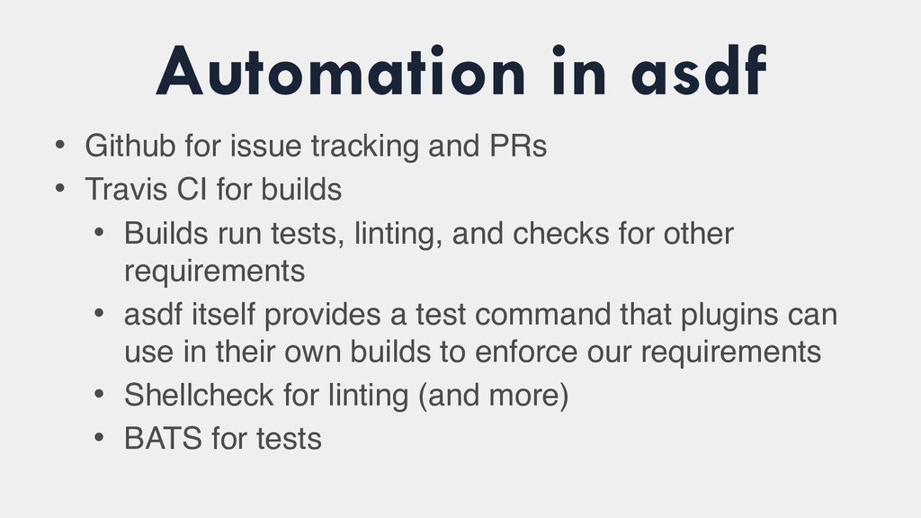 Automation in asdf • Github for issue tracking ...
