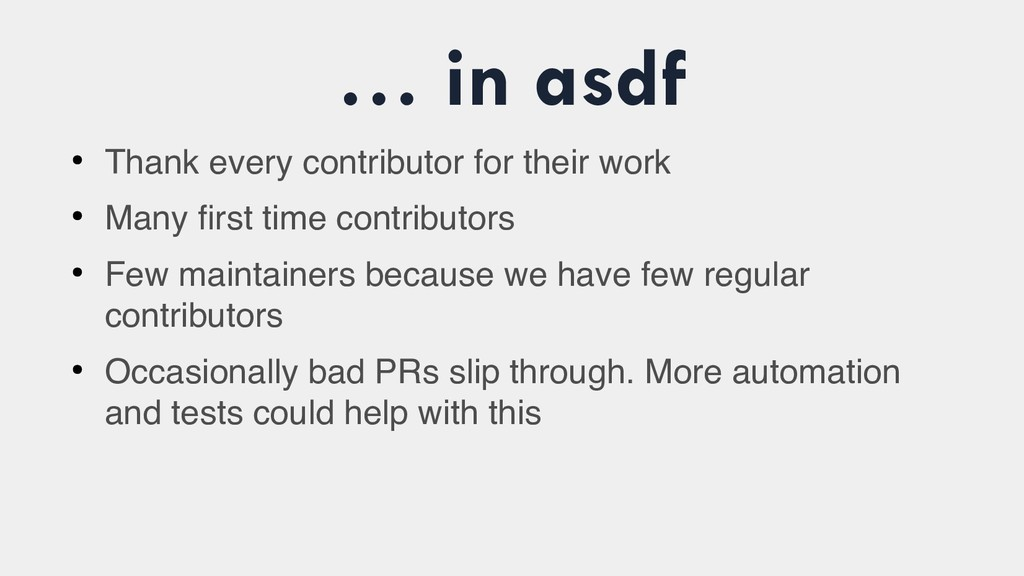 … in asdf ● Thank every contributor for their w...