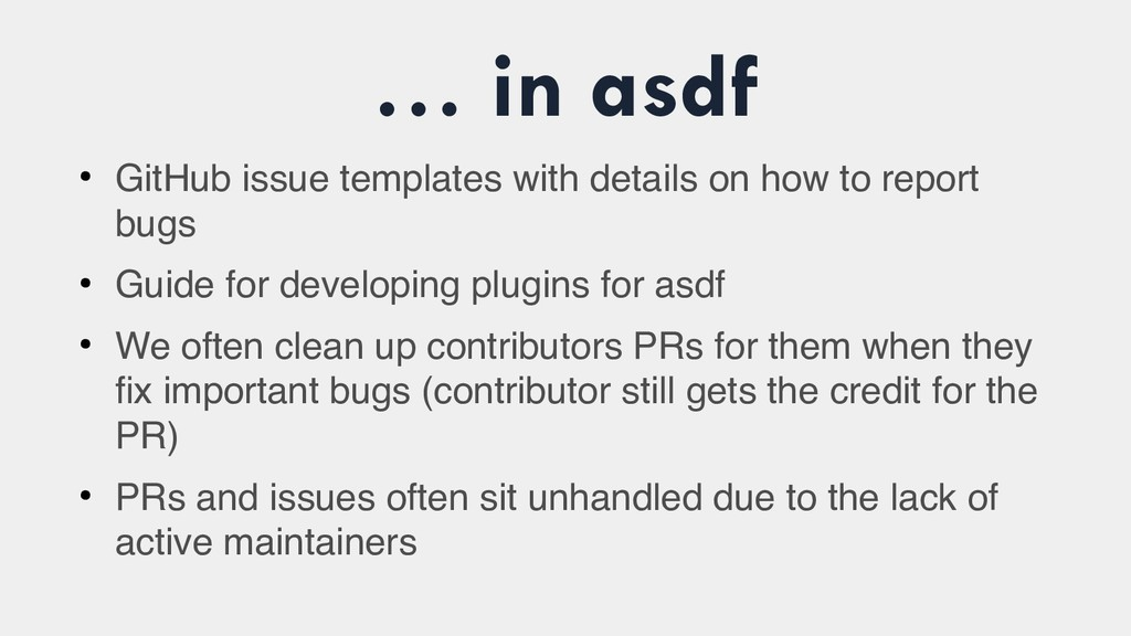 … in asdf ● GitHub issue templates with details...