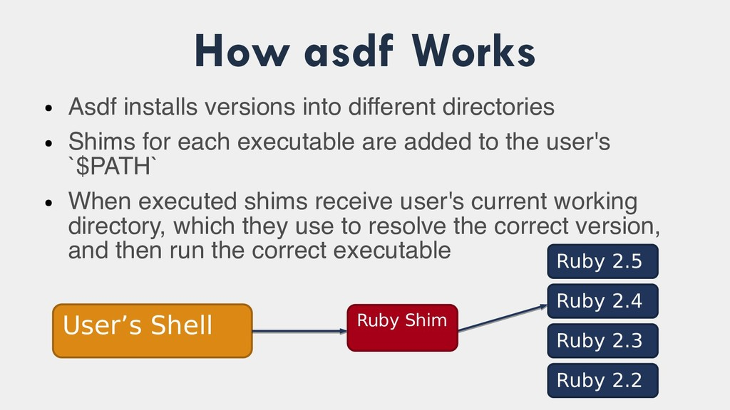 How asdf Works ● Asdf installs versions into di...