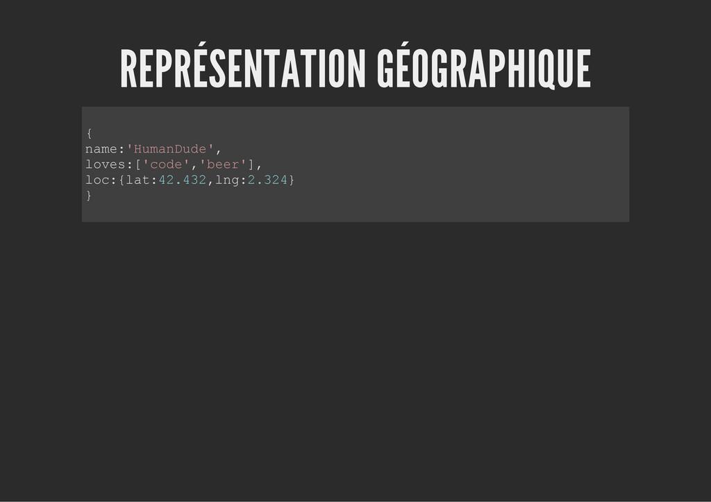 REPRÉSENTATION GÉOGRAPHIQUE { n a m e : ' H u m...