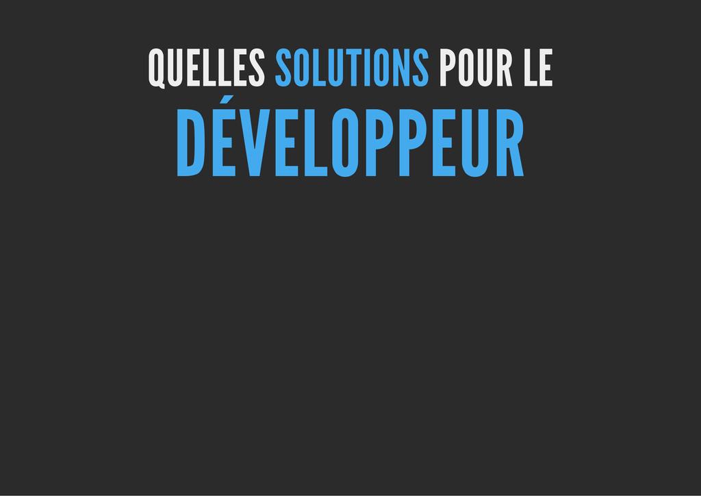 QUELLES SOLUTIONS POUR LE DÉVELOPPEUR