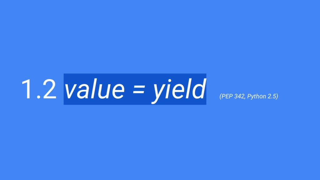1.2 value = yield (PEP 342, Python 2.5)