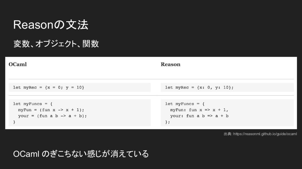 Reasonの文法 変数、オブジェクト、関数 OCaml のぎこちない感じが消えている 出典:...