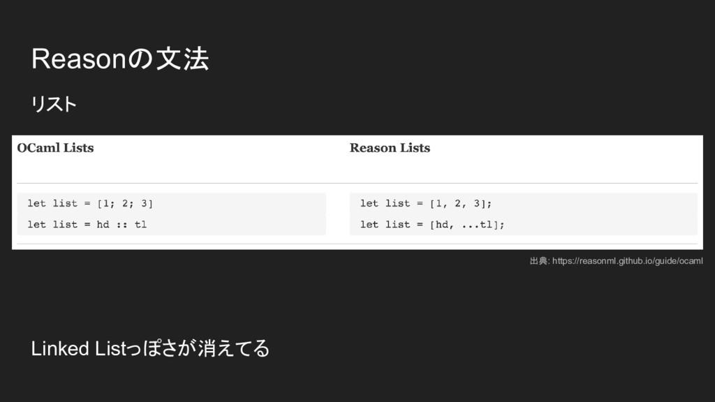 Reasonの文法 リスト Linked Listっぽさが消えてる 出典: https://r...