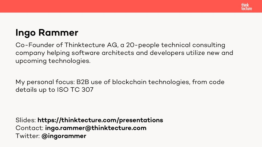 Ingo Rammer Co-Founder of Thinktecture AG, a 20...