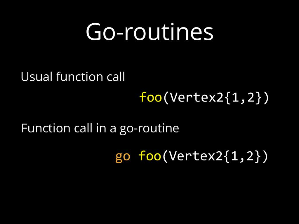 Go-routines foo(Vertex2{1,2}) go foo(Vertex2{1...