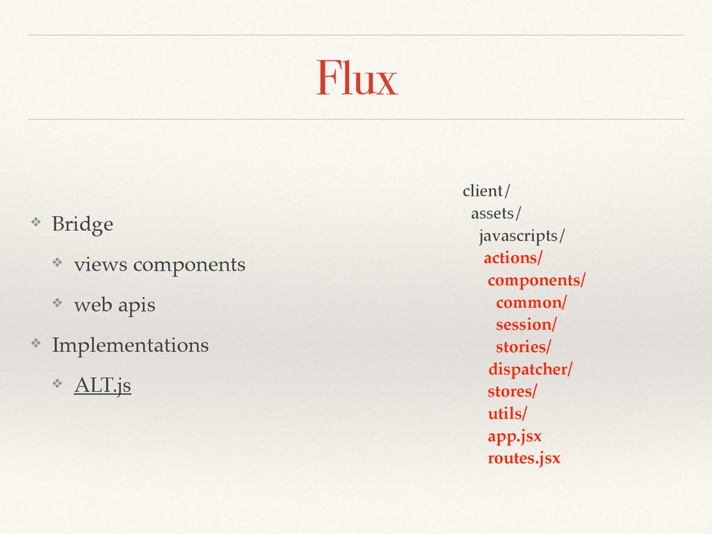 Flux ❖ Bridge ❖ views components ❖ web apis ❖ I...
