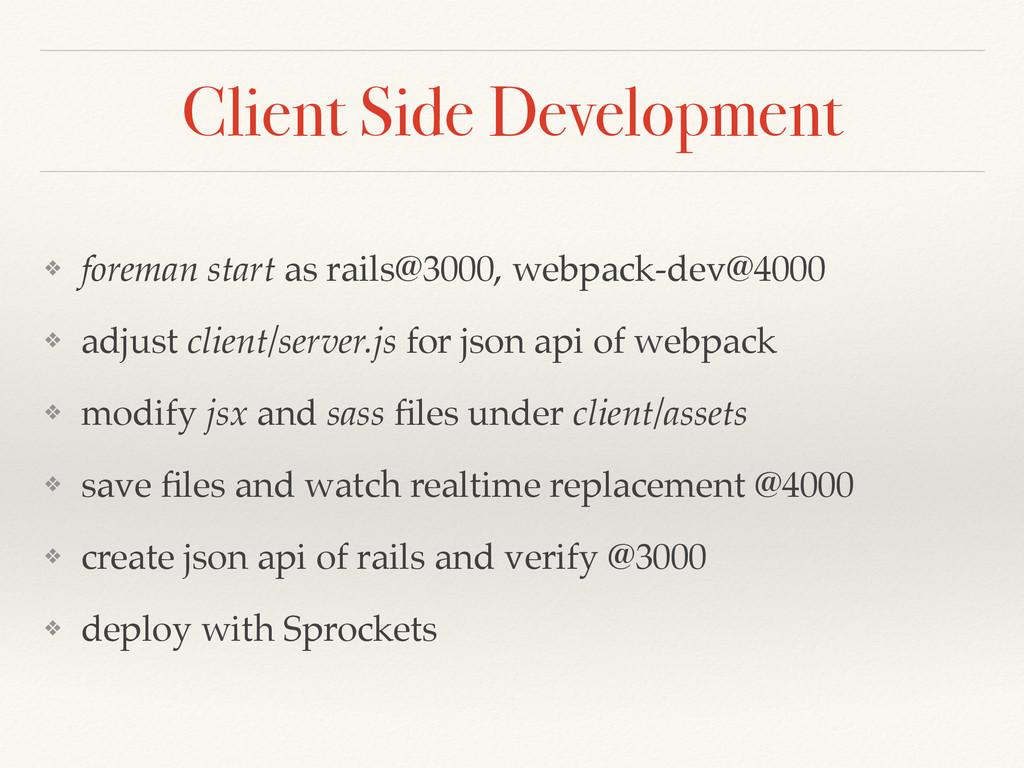 Client Side Development ❖ foreman start as rail...