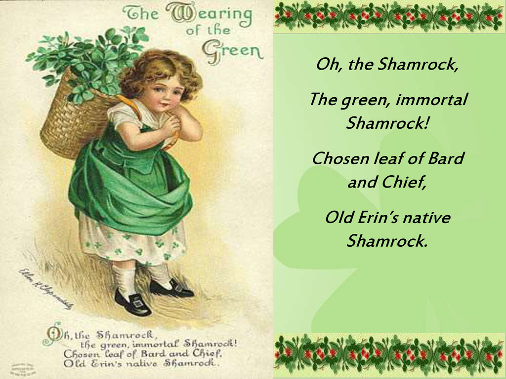 Oh, the Shamrock, The green, immortal Shamrock!...